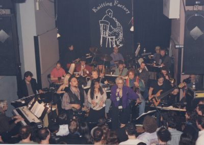 Illuminati at Knitting Factory 1997 with keyboardists: Tom Constanten, Bob Bralove, singers: Tony & Jenna Mammina and Ellen Christie, Todd Reynolds: violin, Michael Blake: sax, Rolf Sturm: guitar, Grisha Alexiev: drums, Diana Herold: vibes, Joe Gallant: bass, Steve Swell: trombone, Danny Sadownik: percussion
