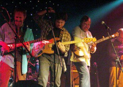 Tony Trischka Band 2004 at Mexicali Blues (L-R) Rolf Sturm, Bob Bowen, Tony Trischka, Michael Amendola, not pictured: Scott Neumann (Photo by Tamera)