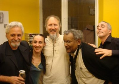 Backstage after concert at Irondale Theatre (L-R): Rob Henke, Andrea Pryor, Rolf Sturm, Anthony Braxton, Walter Thompson